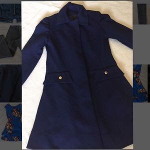 Vintage navy coat with gold buttons